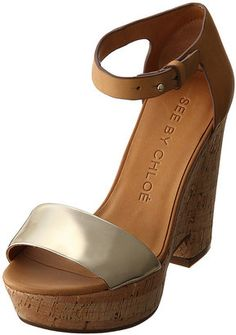 Cork sole metallic sandal / ShopStyle: See by Chloe コルクソールメタリックサンダル