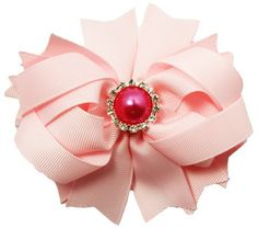 """Over The Top Hair Bow 4"""" Light Pink Grosgrain Boutique Hair Bow With Gem Center #10338"""