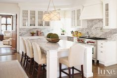 Neutral Colored Marble Kitchen
