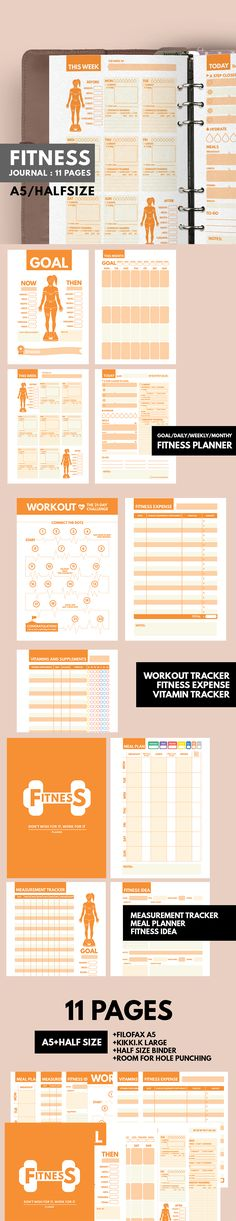 Fitness Planner Printable ▹ for who want to stay healthy and be active everyday! Printable PDF Files This is COMPLETE planner for helping you reaching the Fitness Plan. It contain everything you need while being Fit Girl