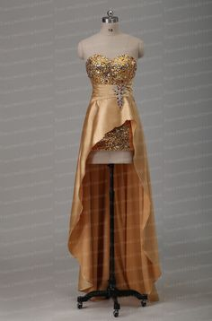 Strapless satin Prom Dress Mermaid  Eveningdress Hi-Lo Party Dress backless Bridesmaid Dress Sequins Homecoming Dress Rhinestone Formaldress