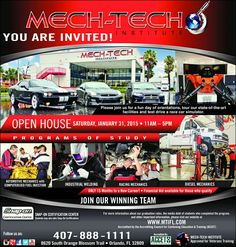 YOU ARE INVITED! Please join us for a fun day of orientations, tour our state-of-the-art facilities and test drive a race car simulator. OPEN HOUSE SATURDAY, JANUARY 31, 2015 • 11AM – 5PM P R O G AUTOMOTIVE MECHANICS with COMPUTERIZED FUEL INJECTION R A M S O F INDUSTRIAL Welding S T U D Y DIESEL MECHANICS RACING MECHANICS ONLY 15 Months to a New Career! • Financial Aid available for those who qualify JOIN OUR WINNING TEAM SNAP-ON CERTIFICATION CENTER Students may also take Snap-On…