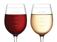 Sauced Measuring Wine Glasses - Cool wine glasses with cup measurements on one side and sip measurement on the other.