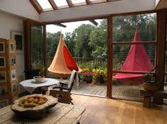 Cacoon modern hammock, discovered by The Grommet. A cross between a hanging tent and a hammock, the Cacoon Hammock, Indoor Hammock, Hammock Chair, Hanging Tent, Hanging Chairs, Garden Furniture, Outdoor Furniture, Low Loft Beds, Outdoor Rooms