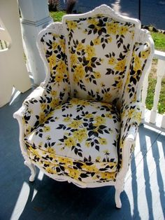 """#vintage #chair upholstered in Rubie Green's """"Marilyn"""" fabric"""