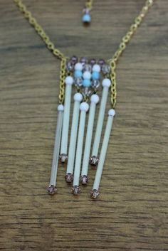 Hand-made necklace with glass and swarovski beads.