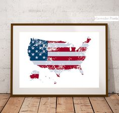 USA map art print with the American flag, a distressed design on white background. Printable wall art, professionally designed and delivered as an