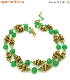 Vendome Double Strand Necklace Jade Green Glass by Vintageimagine
