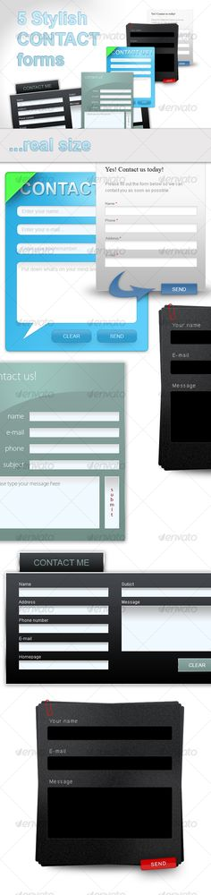 5 stylish web 2.0 contact forms. - #Forms #Web #Elements Download here: https://graphicriver.net/item/5-stylish-web-20-contact-forms/46660?ref=alena994