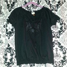 Black Peasant Boho Top Black  peasant boho top  with detail on top. In good condition and is very comfortable just doesn't fit me anymore. Sonoma Tops