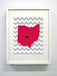 Columbus Ohio State Giclée Print  8x10  Gray and by PaintedPost, $15.00 #paintedpoststudio - Ohio State University - Buckeyes - OSU- What a great and memorable gift for graduation, sorority, hostess, and best friend gifts! Also perfect for dorm decor! :)