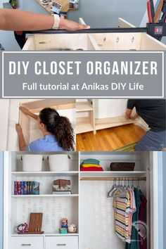 DIY closet organizer tutorial to show you how to make an easy and customizable wood organizer for your clothes. Great weekend project for beginner woodworkers. #anikasdiylife Wood Projects For Beginners, Wood Working For Beginners, Diy Wood Projects, Furniture Projects, Furniture Plans, Kids Furniture, Kreg Jig Projects, Beginner Woodworking Projects, Diy Woodworking