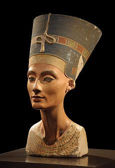Nefertiti (ca. 1370 BC – ca. 1330 BC) was the Great Royal Wife (chief consort) of the Egyptian Pharaoh Akhenaten. Nefertiti and her husband were known for a religious revolution, in which they worshiped one god only, Aten, or the sun disc.