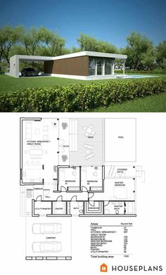 Modern House Plans Cost to Build. 20 Modern House Plans Cost to Build. Small House Floor Plan with Open Planning Vaulted Ceiling Small Modern House Plans, Modern Floor Plans, Modern House Design, Modern Garage, Plans Architecture, Architecture Office, Futuristic Architecture, Modern Cottage, Contemporary Cottage