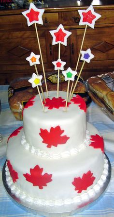 Canada Day Cake-good idea for other counties Canada Day 150, Canada Day Long Weekend, Canada Day Party, Happy Canada Day, Beautiful Cakes, Amazing Cakes, Fondant Cakes, Cupcake Cakes, Canada Celebrations