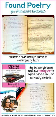 This is my Found Poetry lesson from my Poetry Unit for Interactive Notebooks for older students. Found Poetry requires students to look through an existing text and create a poem using selected words and phrases in the order that they appear. I use Alice's Adventures in Wonderland by Lewis Carroll and Frankenstein by Mary Shelley for this lesson, but you can use any text. (grades 7-10)