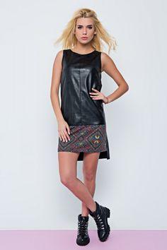 FAUX LEATHER BLACK DRESS #fauxleatherdress #womenfashion