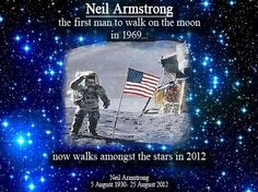 "Neil Armstrong. RIP, reluctant hero and astonishing role model.  Per your family's wishes, ""For those who may ask what they can do to honor Neil, we have a simple request. Honor his example of service, accomplishment and modesty, and the next time you walk outside on a clear night and see the moon smiling down at you, think of Neil Armstrong and give him a wink.""  Winking...and tearing up."