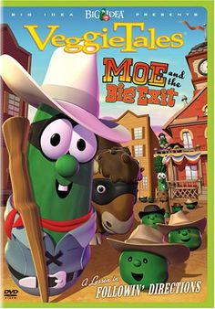 VeggieTales Moe and The Big Exit - DVD 2007 Rated G in Spanish for sale online Wild West Cowboys, Silly Songs, Veggietales, Christian Movies, Christian Life, Story Of The World, Tag Design, Cool Things To Buy, Stuff To Buy