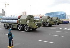 S-300 mobile Surface-to-Air missile launchers of the Kazakh Air Defense Forces rolling down Astana's Independence Square in the 2011 Kazakhstan Constitution Day Parade.