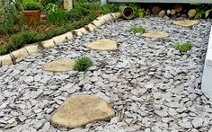 Image result for stepping stones slate chippings