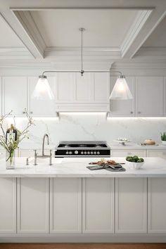 Modern And Trendy Kitchen Cabinets Ideas And Design Tips – Home Dcorz Modern Shaker Kitchen, Shaker Style Kitchen Cabinets, Shaker Style Kitchens, Kitchen Cabinet Colors, Kitchen Hoods, Modern Kitchen Design, New Kitchen, Home Kitchens, Classic White Kitchen