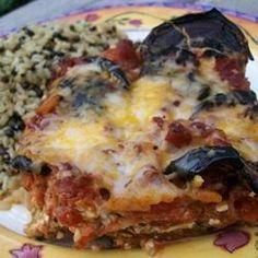 Eggplant Parmesan - eggplant layered with ricotta so it's like a pasta-less lasagna, great reviews on Allrecipes.com