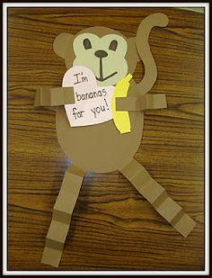 Monkey Valentine Craft - Plus LOTS of teacher crafts on this site. My Funny Valentine, Valentines Day Book, Valentine Day Crafts, Holiday Crafts, Holiday Fun, Holiday Ideas, Valentine Activities, Valentine Party, Thanksgiving Crafts