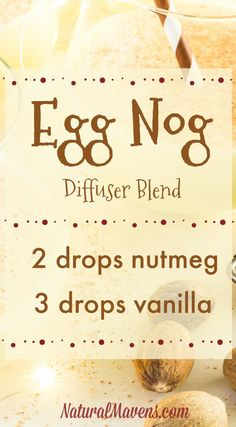 Christmas Essential Oil Blends for Beautiful Festive Aromas Egg Nog essential oil diffuser blend with the inviting aromas of nutmeg and vanilla.Egg Nog essential oil diffuser blend with the inviting aromas of nutmeg and vanilla. Vanilla Essential Oil, Chamomile Essential Oil, Essential Oil Uses, Vanilla Oil, Do It Yourself Upcycling, Essential Oil Diffuser Blends, Aroma Diffuser, Healing Oils, Diffuser Recipes