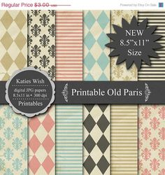 ON SALE Printable Old Paris Digital Kit  // 85x11 by KatiesWish, $1.50
