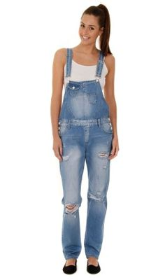 Women's Boyfriend Fit Destroyed Denim Dungarees - Pale wash | All Womens Dungarees | Women