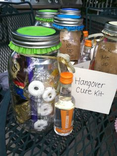 "Bachelorette party gift. ""hangover cure kits"" made in mason jars. Motrin. Mints. Ponytails. Pretzels and vodka shooter with OJ for a hair on the dog morning drink! Other good ideas: gum, tomato juice, barf bags, mouth wash, wisps, crackers or red bull. For Amanda Measel :)"