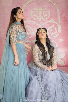 What's a bride without a bestie ? And what's a bride and bestie without some jaw droppingly stylish, co-ordinated outfits. Blue Bridal, Indian Bridal, Pakistani Dresses, Indian Dresses, Indian Outfits, Bridal Outfits, Bridal Dresses, Wedding Dresses For Girls, Girls Dresses