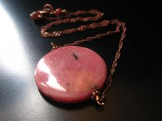 Rhodonite Chain Necklace Rhodonite Pendant Antique by PumpkinBeads