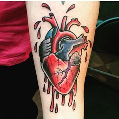 Traditional anatomical heart tattoo