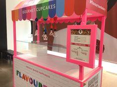 Cupcake cart, illuminated menu board.