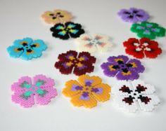 Flower magnets. Handmade magnets hama beads perler. Spring pixel art