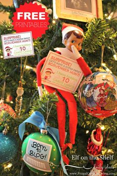 Creative Elf on the Shelf Ideas | Free Elf Scavenger Hunt Note on Frugal Coupon LIving. Free printable notes and Elf Props too!