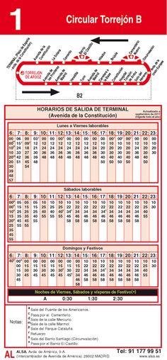 horario autobuses vuelta 1 Circular Torrejon a y B