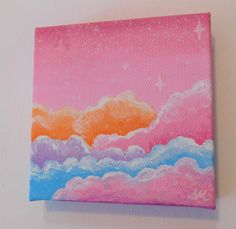 Mini Pink Sky Painting Canvas, Fantasy Sky Painting, Pink Sky Small Canvas Painting, Clouds Small Canvas Original, Painting Clouds, Painting Canvas, Christmas Decor, Merry Christmas, Small Canvas, Pink Sky, Media Design, Abstract Art, Fire