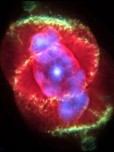Nébuleuse planétaire de l'Oeil de Chat  , The Cat's Eye Nebula  NGC 6543 dans la constellation du Dragon [Dra ]  Distance (3,000 a.l.)