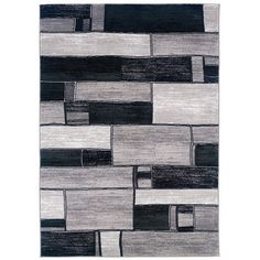 LR Resources Adana Oblong Blocks Charcoal & Gray Area Rug | AllModern