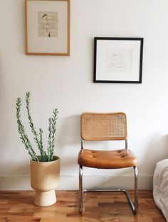 simple framed drawings via sfgirlbybay   vintage leather and rattan chair   white minimal interior   succulent plant in a large vase