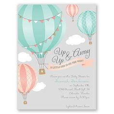 Love this Up, Up & Away Petite Baby Shower Invitations at Invitations By Dawn