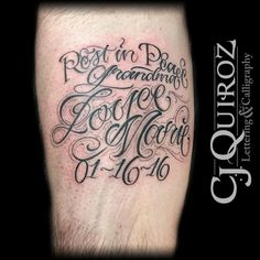 Rest in peace, Lettering, Calligraphy, C.J., Tattooist ,