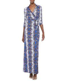 Diane von Furstenberg Abigail Python-Print Wrap Maxi Dress