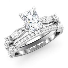Radiant Shape Semi Mount With Matching Wedding Ring - Glamorous Custom Wedding Ring in Los Angeles style.