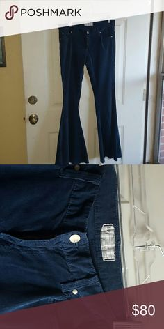 FREE PEOPLE FLARE CORDEROUY Soft navy blue...super flared bottoms Free People Pants Wide Leg