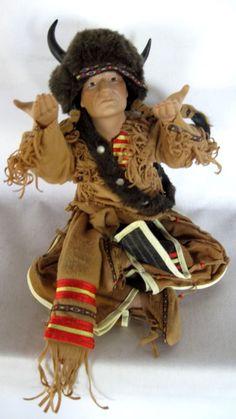 Native American Indian Figure in Prayer wBuffalo Ceremonial Garb Doll Figurine  #NativeAmericanFigure