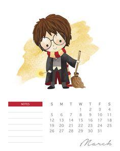 Calendário 2017 Harry Potter para imprimir GRÁTIS | BLOG PEQUENAS INFINIDADES